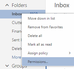 In the inbox drop-down menu, permissions is selected.