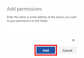 The add permissions window with the delegate selected and the add button highlighted.