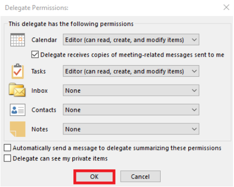 Delegate Permissions window with the folder permissions displayed and the OK button highlighted.