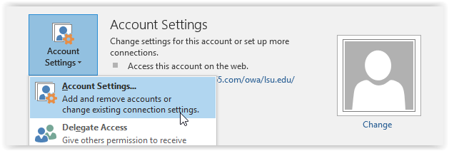 account settings in outlook
