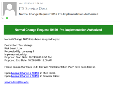 authorization directions for change request