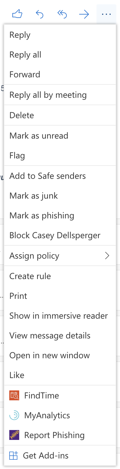 Menu list item under new Outlook experience