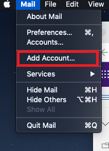 the Add Account option in the mail dropdown menu