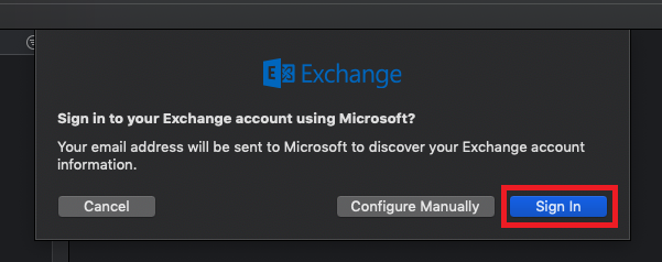 sign in using microsoft exchange dialog box, sign in highlighted