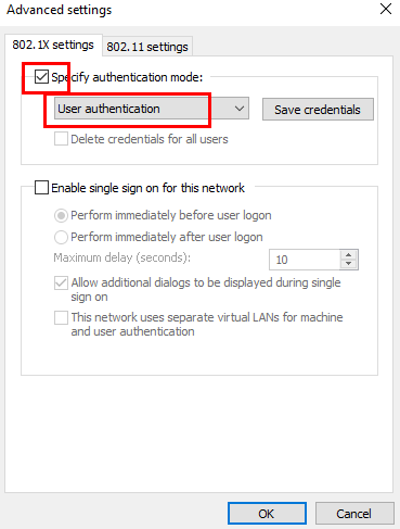 User Authentication selected in the dropdown for authentication mode