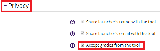 Accept grades from privacy drop down