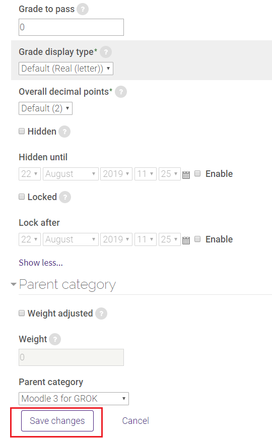 lock/hidden and parent category grades in SNAP