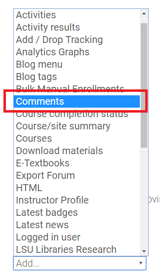 """Comments"" option in the Add a Block drop-down box"