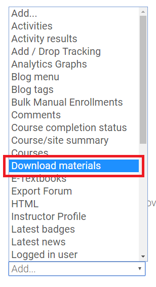 Download materials option in Add a Block dropdown menu