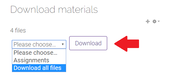 Download button and download materials drop down menu