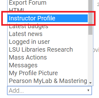 Instructor profile button