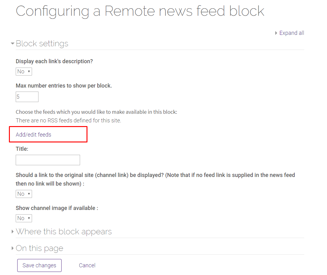 Add/Edit feeds option in Remote RSS Feeds block