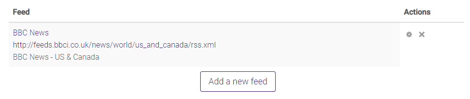 Feeds list in manage all my feeds
