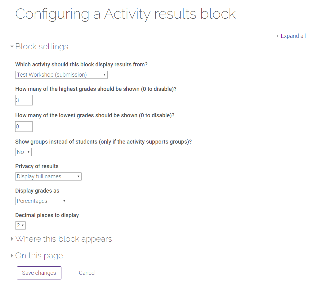 configuring activity results block options