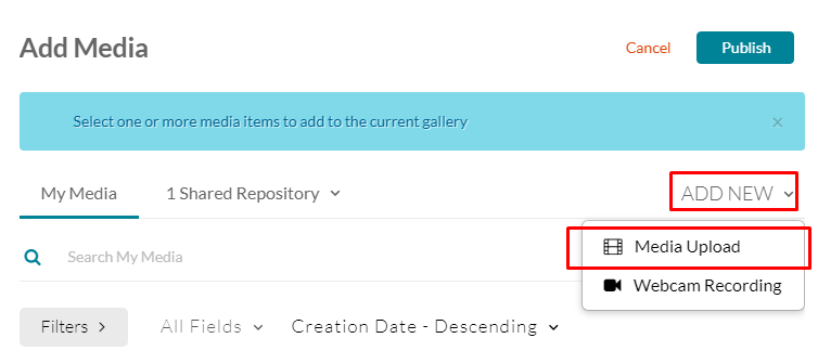 """Add new"" drop down box with ""media upload"" option"