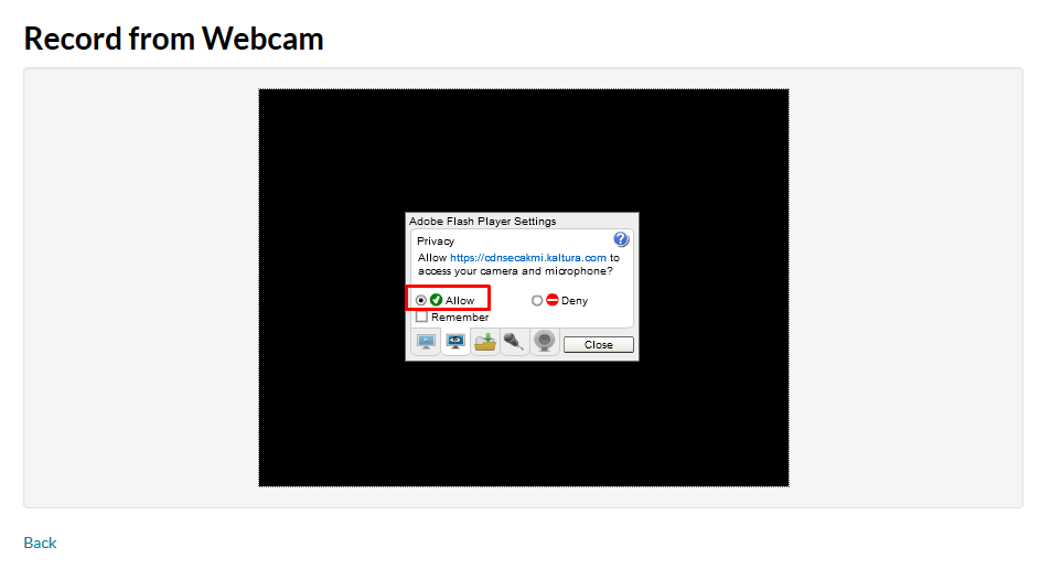 Record from webcam and allow flash player settings