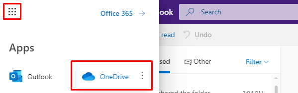 App launcher in Outlook and OneDrive tab