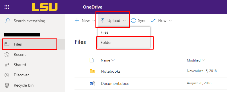 Files tab and upload button on OneDrive