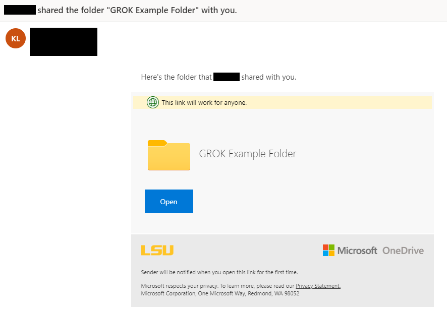 Example email of successfully shared folder