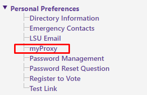 myProxy selection under Personal Preferences