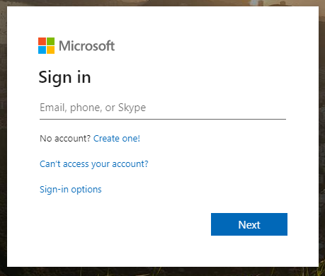 Office365 Sign-in screen