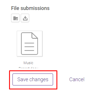 File in File Submission window with save changes button