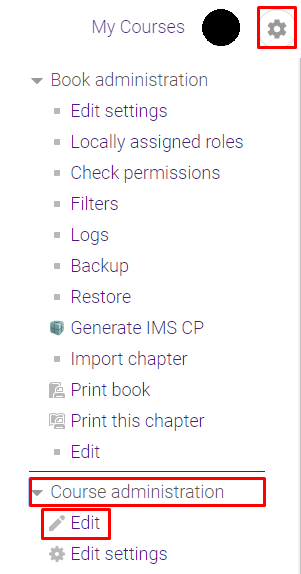 gear icon (admin) with course administration drop down and edit option