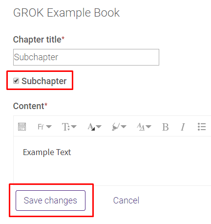 Add a new subchapter settings and save changes button