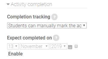 activity completion settings for label resources