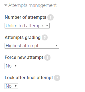 attempts management options in SCORM package settings