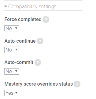 compatibility settings in SCORM package settings