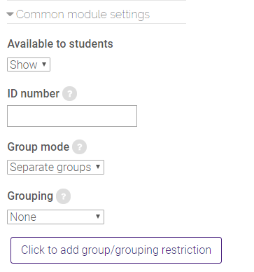 common module settings in SCORM package settings