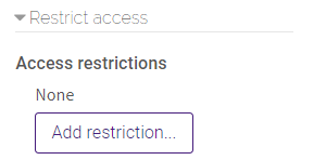 restrict access settings in SCORM package settings
