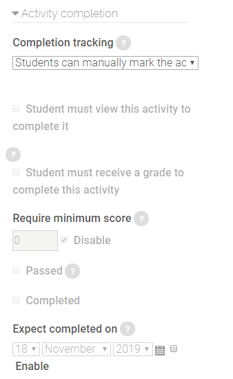 activity completion settings in SCORM package settings