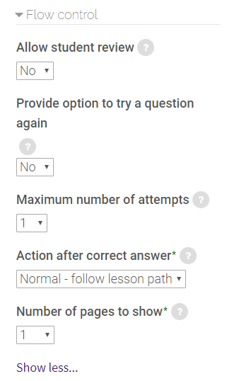 flow control settings in lesson activity