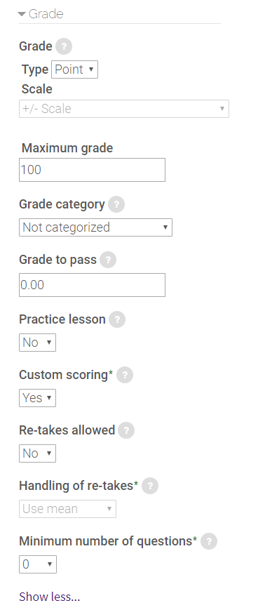 grade settings for lesson activity