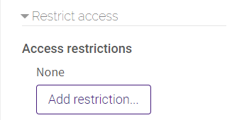 Access Restriction Settings in lesson activity