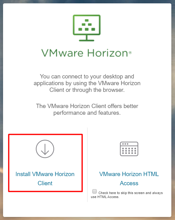 the View VmWare Horizon Client button