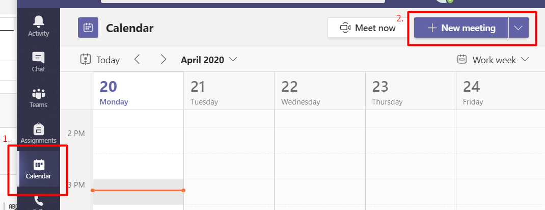 schedule a meeting button from calendars on MS teams