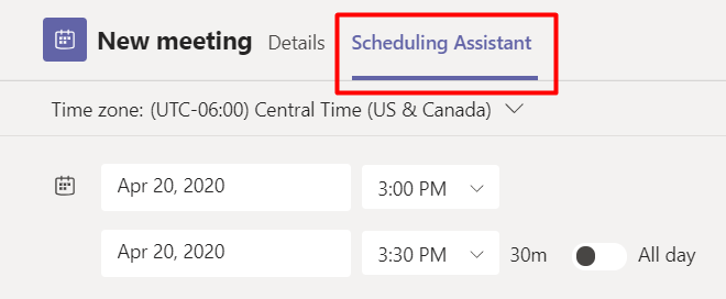 scheduling assistant tab
