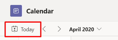 today button on calendar