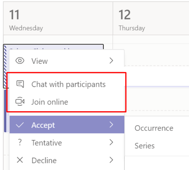 chat with participants and join online button