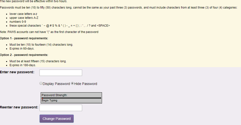 updated password screenshot