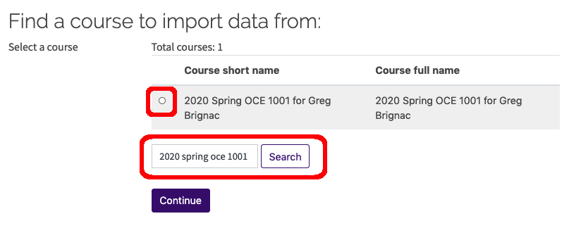 circle to select course and search bar for course