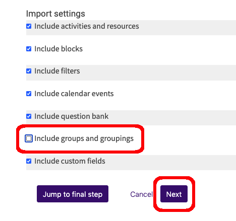 import settings options