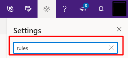 "settings search bar with ""rules"" typed in"