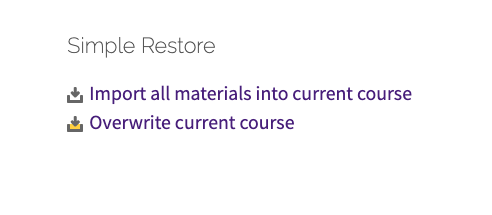 Simple Restore block on Course Tools page