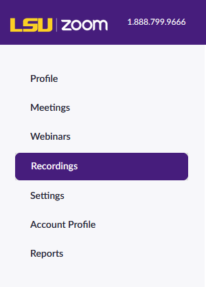 Recordings button on left sidebar